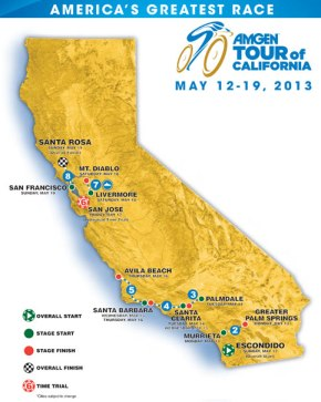The full 8-day race course of the Amgen Tour of California