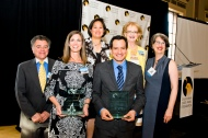 Awardees Kristin Olden and Anthony Rendon with CSPF trustees and President Elizabeth Goldstein